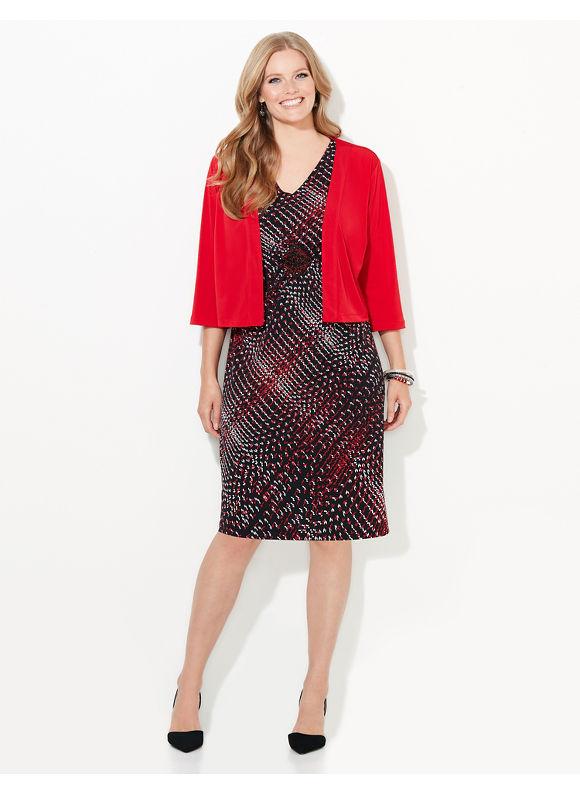 Catherines Plus Size Holiday Lights Jacket Dress,  Black