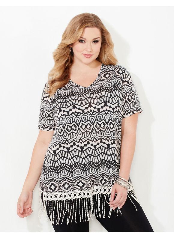 Catherines Plus Size Wigwam Fringe Top, Black