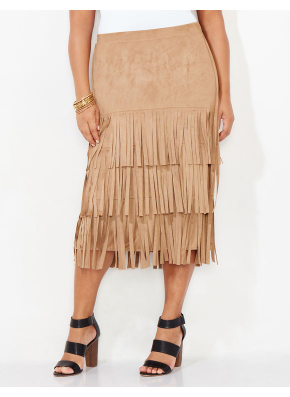Black Label by Catherines Plus Size Salinas Fringe Skirt, Brown