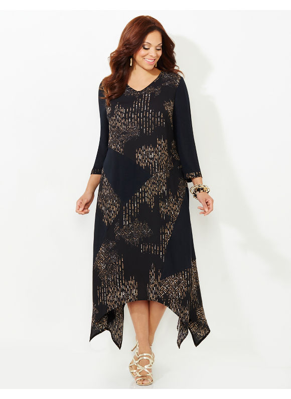 Black Label by Catherines Plus Size In An Instant Dress Womens Size 0X Black $89.99 AT vintagedancer.com