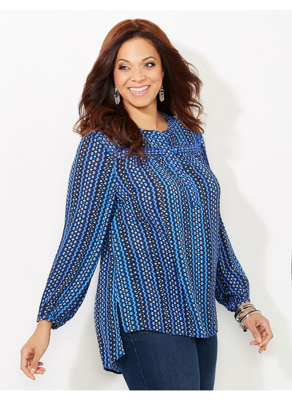 Catherines Plus Size Mixed Print Shirt, Blue
