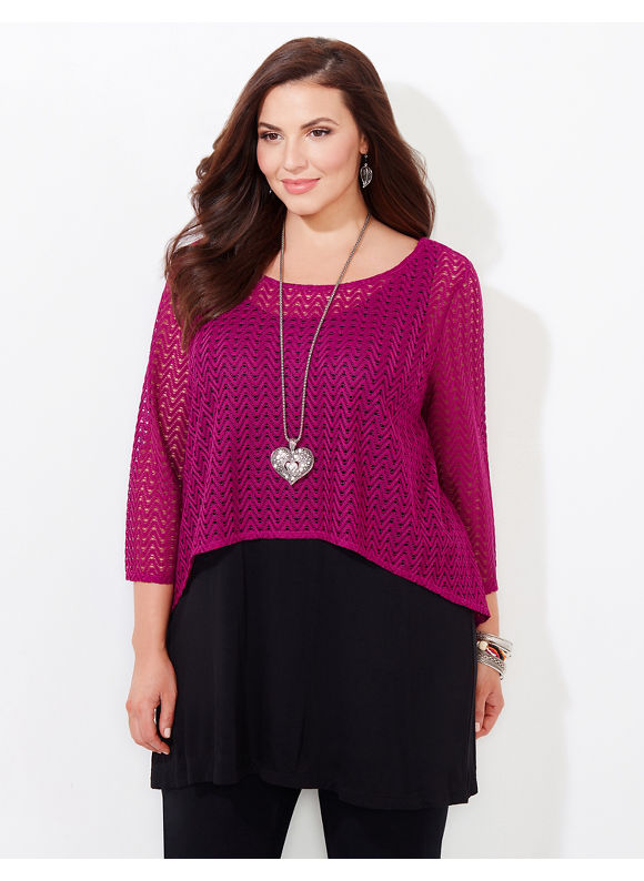 AnyWear by Catherines Plus Size AnyWear Larkhill Cropped Top With Tank, Deep Azalea