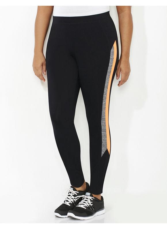Catherines Plus Size Sleek Stripe Active Legging, Black