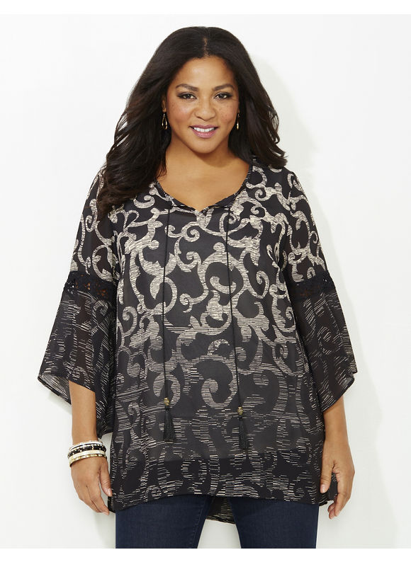 Catherines Plus Size Bell Tolls Blouse, Black