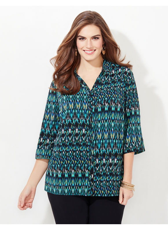 Catherines Plus Size Intrigue Blouse,  Blue