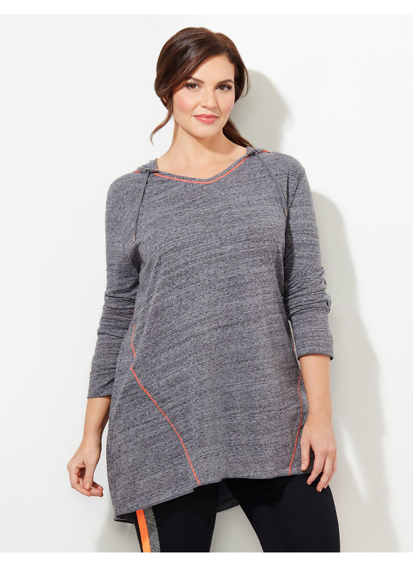 Catherines Plus Size Sleek Stripe Active Hoodie, Gray