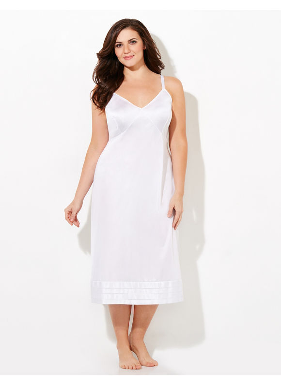 Catherines Plus Size Snip-It Full Slip, - Women's white