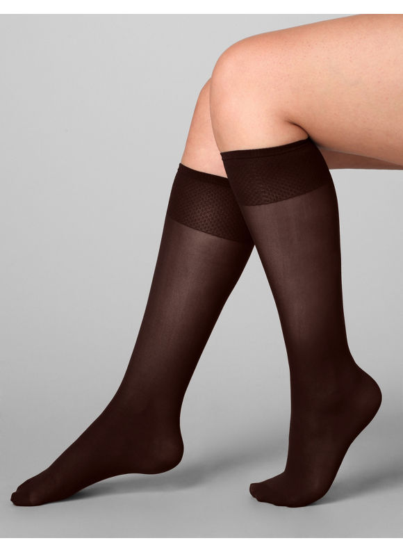 Catherines Plus Size Cotton Sole Trouser Socks - Womens Size One Size Brown $6.00 AT vintagedancer.com