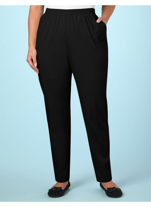 Catherines Women's Plus Size/Black Pull-on Twill Pants - Size 00X