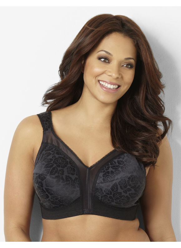 Playtex Plus Size Playtex 18 Hour No-Wire Bra, Women's, Size: 46D, Black - Catherines ~ Classic Plus Size Clothes