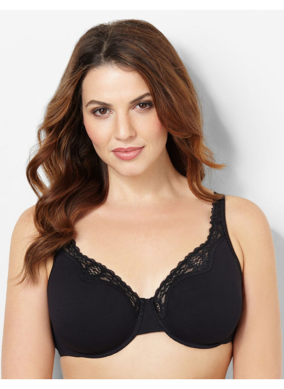 Image of Catherines Plus Size Underwire Cotton Comfort Bra  Womens Size 40C Black