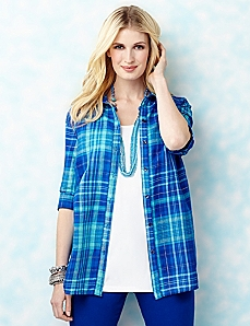 Lurex Plaid Shirt by CATHERINES