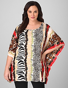 Safari Patterned Poncho by Catherines