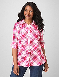 Plaid Button-Front Shirt by By Catherines®