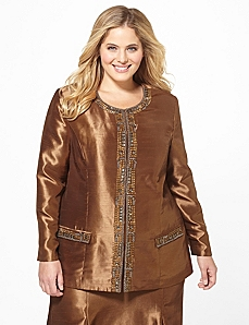 Silky Jeweled Jacket by Catherines