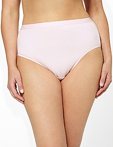 Solid Cotton Hi-Cut Brief by CATHERINES