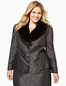 Sharp Faux Fur Jacket by CATHERINES
