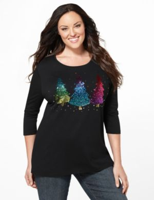 Sequin Tree Tee