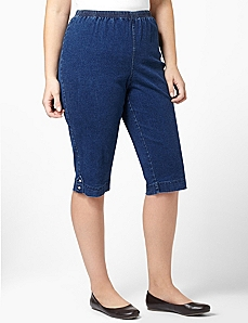 Relaxed Denim Capri by CATHERINES