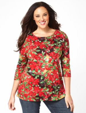Poinsettia Sequin Top