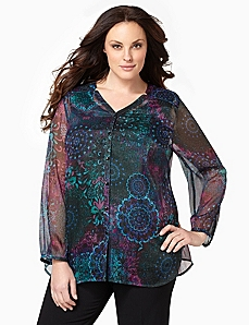 Medallion Dream Duet Blouse by CATHERINES