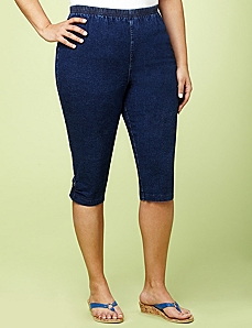 Pull-On Denim Capri by CATHERINES