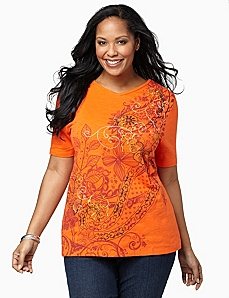 Paisleys Ablaze V-Neck by CATHERINES