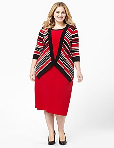 Bold Stripes Jacket Dress by CATHERINES