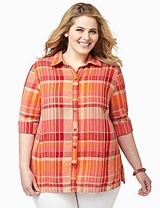 Soft Plaid Buttonfront