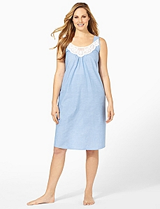 Light Pindot Sleep Gown by CATHERINES