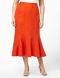 Linen Seamed Skirt