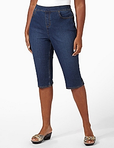 Timeless Fit Denim Capri by CATHERINES
