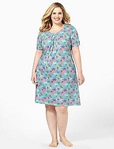 Floral Pleated Sleepshirt by CATHERINES