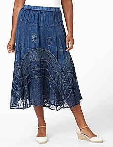 Paisley Threads Skirt by CATHERINES