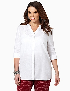 Linen Sequin Shirt by CATHERINES