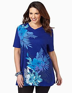 Hawaiian Palms V-Neck by CATHERINES