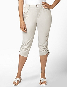 Vine Embroidery Capri by CATHERINES