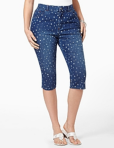 Denim Star Capri by CATHERINES