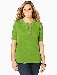 Touch Of Medallion Top by CATHERINES