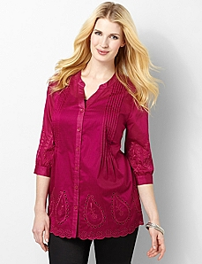 Paisley Eyelet Tunic by CATHERINES