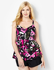 Pink Abstract Ruffle Swim Tank