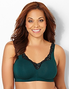 Lace No-Wire Cotton Comfort Bra