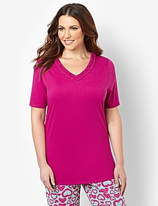 V-Neck Trim Sleep Tee