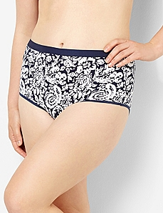 Serenada® Stamped Paisley Full Brief Panty by CATHERINES