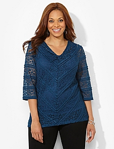 Lace Statement V-Neck by CATHERINES