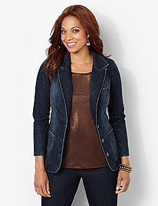 Crisp Denim Blazer by CATHERINES