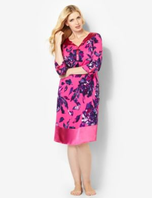 Floral Satin Trim Sleep Gown