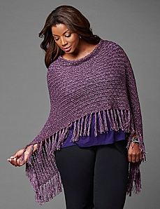 Soft Fringed Poncho by CATHERINES