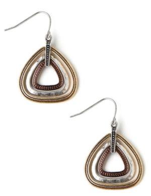 Tri-Tone Triangle Earrings