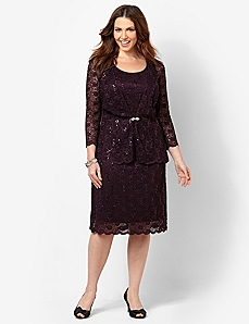 Romantic Lace Jacket Dress by CATHERINES